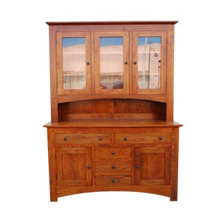 Craftsman Style Hutch in Cherrywood For Sale