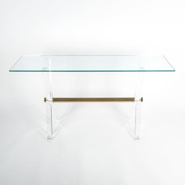 Gold Lucite and Brass X Frame Console Table, Circa 1970 For Sale - Image 8 of 13