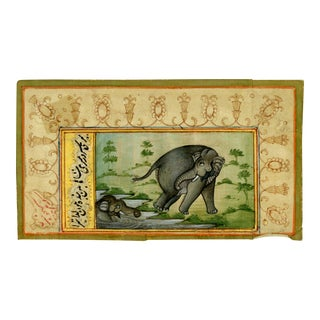 Watercolor Painting of Two Indian Elephants From Early 20th Century For Sale