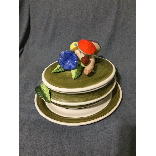 Vintage Majolica Mushroom Soup Tureen For Sale - Image 4 of 13