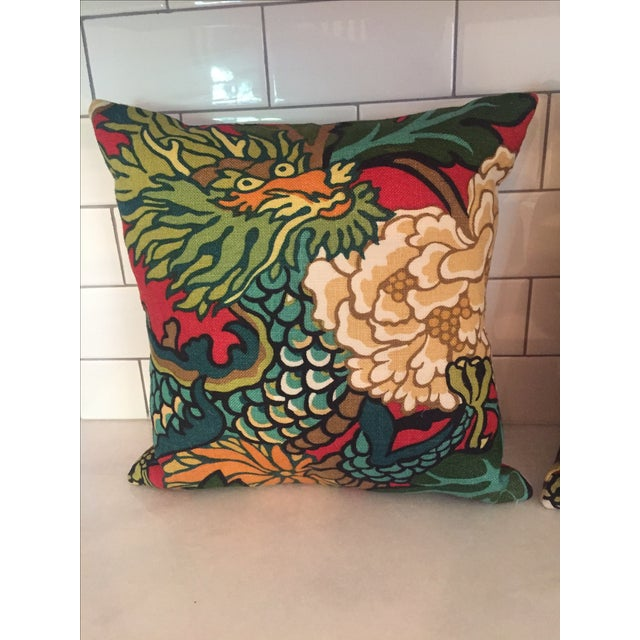 Schumacher Chiang Mai Dragon in Red Pillows - Pair For Sale - Image 6 of 11