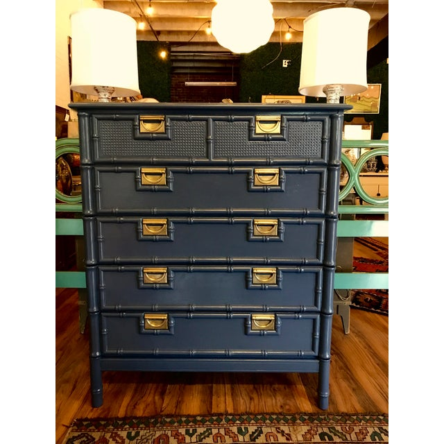 Blue Hale Navy Blue Lacquered Faux Bamboo Highboy For Sale - Image 8 of 8