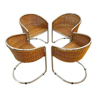 Danish Mid Century Modern Chrome Wicker Side Tub Chairs- Set of 4 For Sale