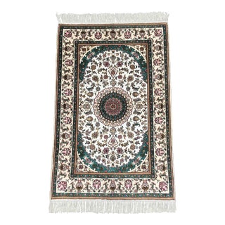 Persian Handknotted Brown and White Silk Quoom Area Rug For Sale