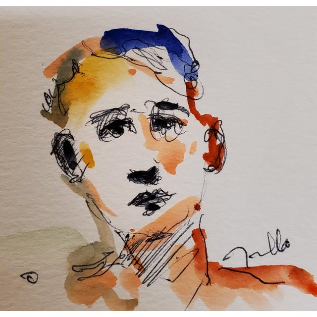 Jose Trujillo Original Portrait Expressionist Watercolor Painting Signed For Sale