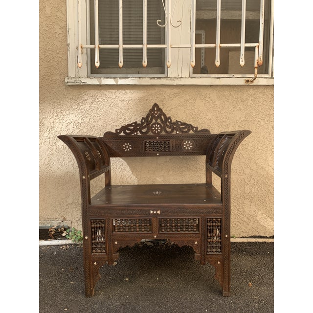 Vintage Mother of Pearl Inlay Morrocan Bench For Sale - Image 12 of 12