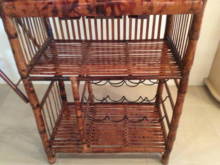 bamboo bar cart. Mid 20th Century Hollywood Regency Faux Bamboo Rattan Tortoise Shell Bar Cart For Sale - Image