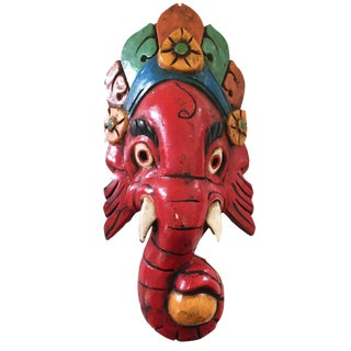 Nepalese Carved Wood Ganesh Wall Hanging
