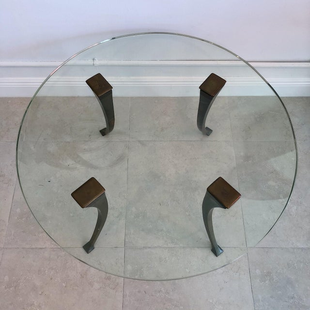1940's Vintage Bronze & Glass Circular Cocktail Coffee Table For Sale - Image 4 of 8
