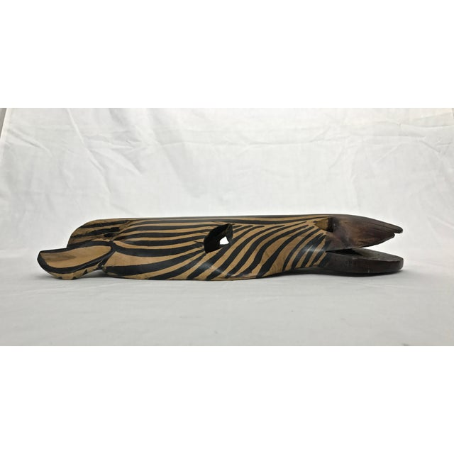 Safari Style Wooden Zebra Mask For Sale In Raleigh - Image 6 of 9