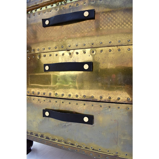 Animal Skin Sarreid Brass 3-Drawer Chest For Sale - Image 7 of 8