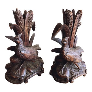 Antique French Black Forest Carved Wood Pheasant Candle Holders / Espergne - a Pair For Sale