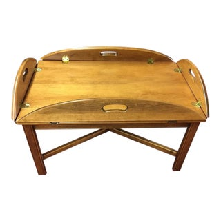 Ethan Allen Maple Butler's Coffee Table For Sale