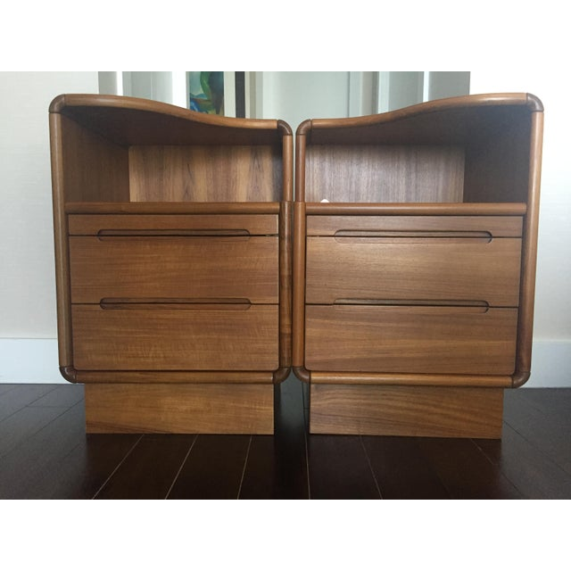 Contemporary Teak Nightstands - A Pair - Image 2 of 8