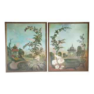 Vintage Handpainted French Style Oil Prints- a Pair For Sale