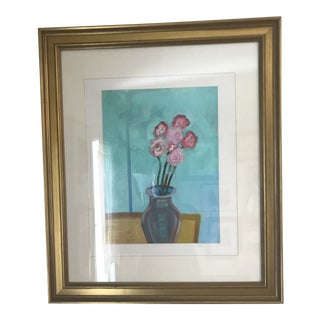 """""""Quarantine"""" Contemporary Floral Still Life Painting, Framed For Sale"""