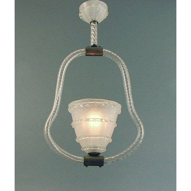 "1920s 1920s Vintage Italian Blown-Glass Murano ""Harp"" Lighting Fixture For Sale - Image 5 of 5"
