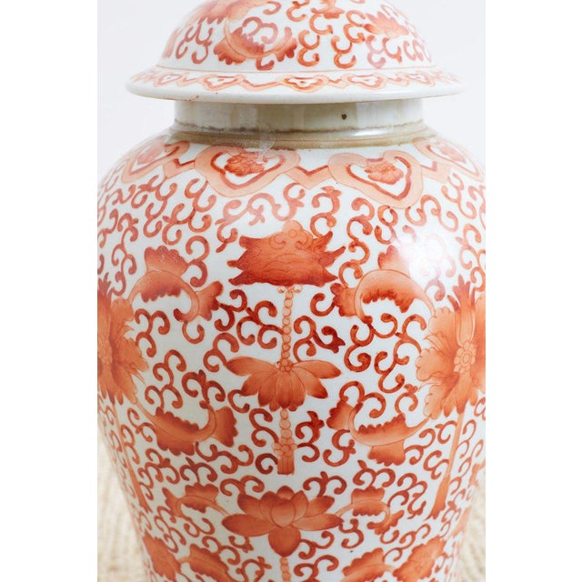 Asian Pair of Chinese Porcelain Floral Ginger Jar Lamps For Sale - Image 3 of 13