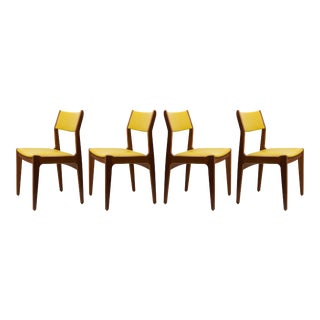 Mid-Century Danish Style Leather & Teak Chairs- Set of 4 For Sale