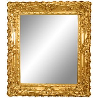 French Louis XV Style Gilt Wood Wall Mirror For Sale