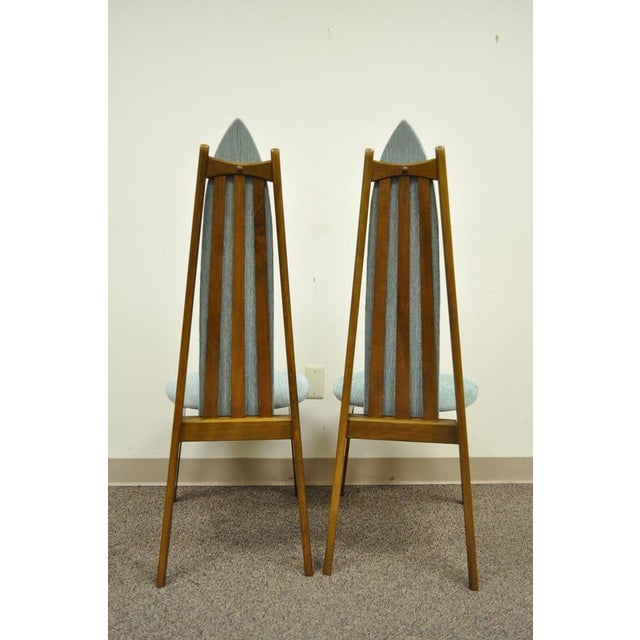 Set of 4 Vintage Mid Century Modern Sculptural Walnut Dining Chairs Danish Style For Sale - Image 9 of 11
