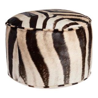 Forsyth Zebra Hide Pouf Ottoman For Sale