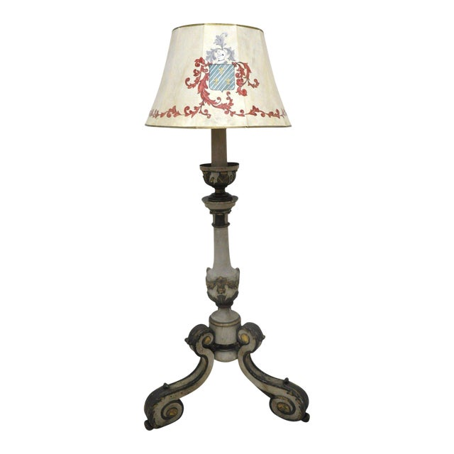 Mid-19th Century Italian Carved and Painted Floor Lamp For Sale