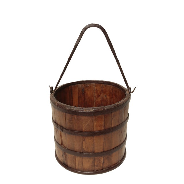 Antique wood iron bucket chairish Where can i buy reclaimed wood near me