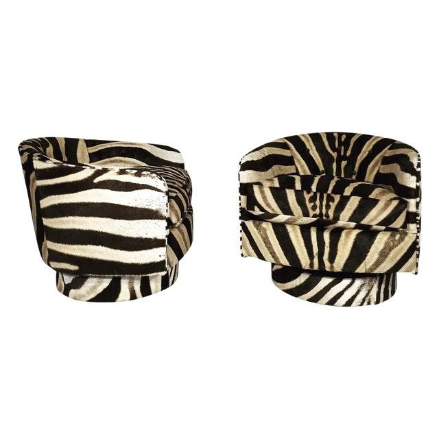Milo Baughman Swivel Tilt Zebra Club Chairs - Pair - Image 1 of 7