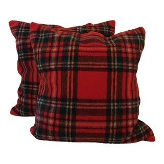 Vintage Stadium Blanket Wool & Velvet Pillows - a Pair