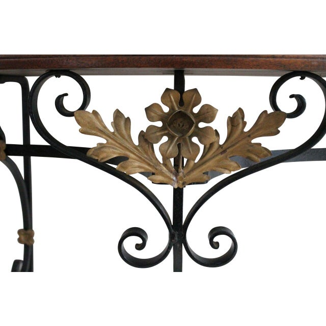 Gilded Iron & Walnut Console with Mirror - Image 3 of 4