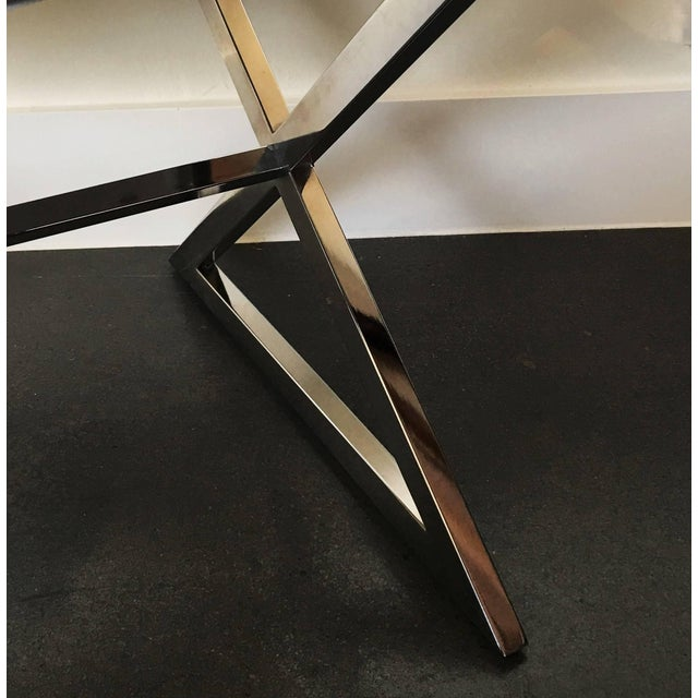 Mid-Century Modern Pair of Chrome X-Base Stools in the Manner of Milo Baughman For Sale - Image 3 of 6