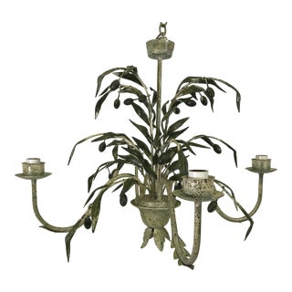 Vintage Tole Olive Chandelier For Sale