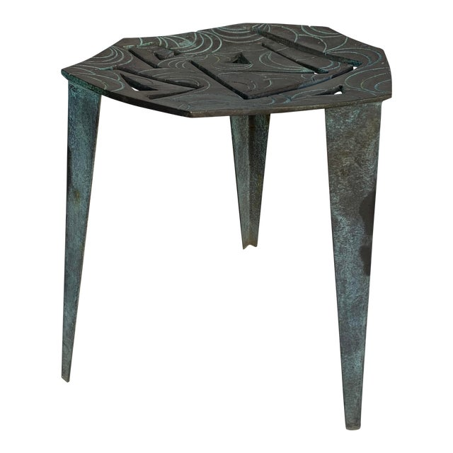 Artist Made Vintage Modernist Bronze Side Table For Sale