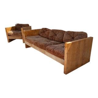 1970s Vintage Milo Baughman for Thayer Coggin Burlwood Sofa and Chair For Sale