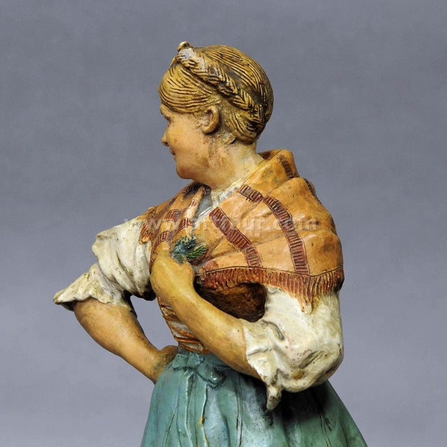 Late 19th Century Decorative Folksy Couple Stoneware Figures For Sale - Image 5 of 10