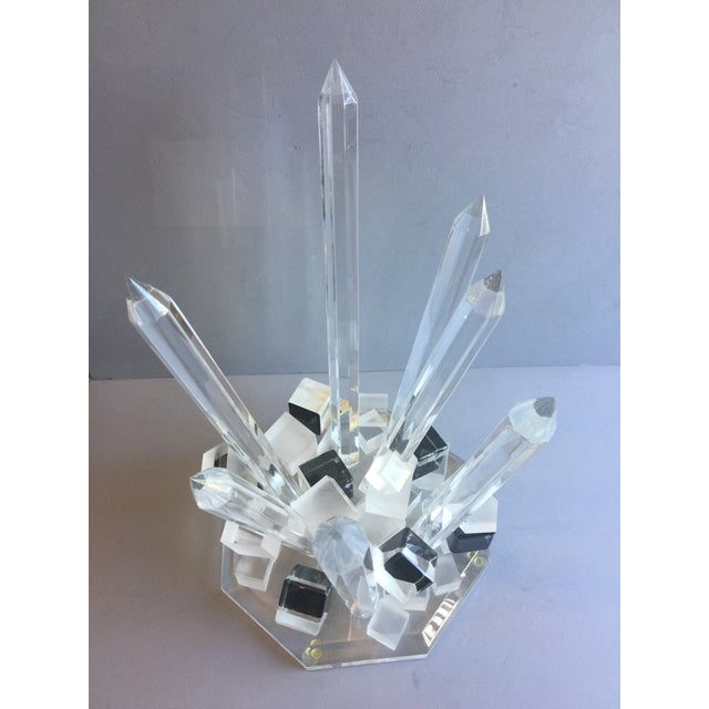 Abstract Large Modern Lucite Abstract Quartz/Crystal Shape Magnificent Sculpture For Sale - Image 3 of 13