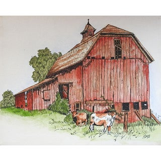 Red Barn & Cows Painting For Sale