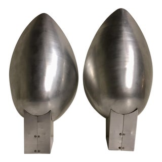 1950s Brutalist Aluminum Wall Sconces - a Pair For Sale