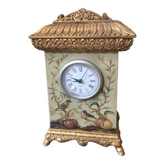 Gilt Carved Hand Painted Birds and Vines Vintage Clock For Sale