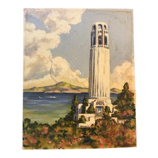 1950s Vintage Coit Tower San Francisco Oil Painting For Sale