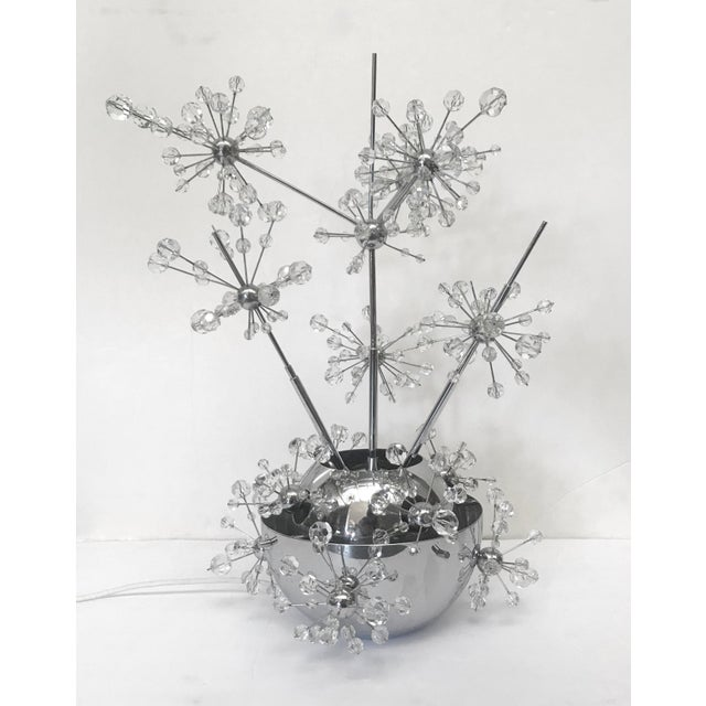 Vintage table lamp with faceted crystal beads mounted on chrome stems and base / Made in Austria in the 1960s 3 lights /...