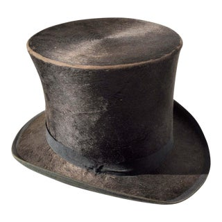 G.W. Campbell Top Hat with Stetson Hat Box For Sale