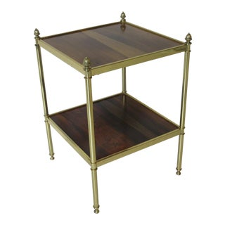 Baker Rosewood and Brass End Table For Sale
