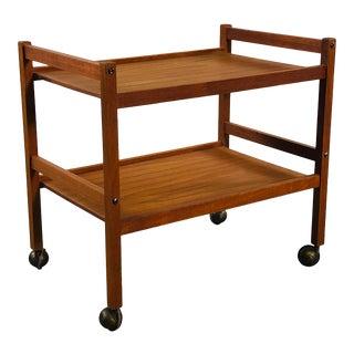 Danish Teak Rolling Serving Cart For Sale