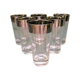 Mid-Century Silver Rim Tumbler Glasses - Set of 6 For Sale