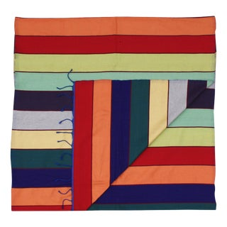 Moroccan Throw W/ Colorful Stripes For Sale