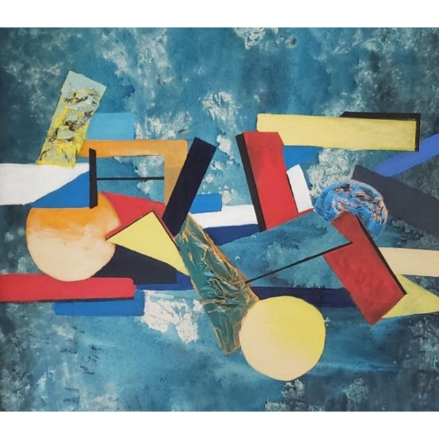 Abstract 1960 Abstract Cubist Mid Century Modern Huge Original Painting For Sale - Image 3 of 10