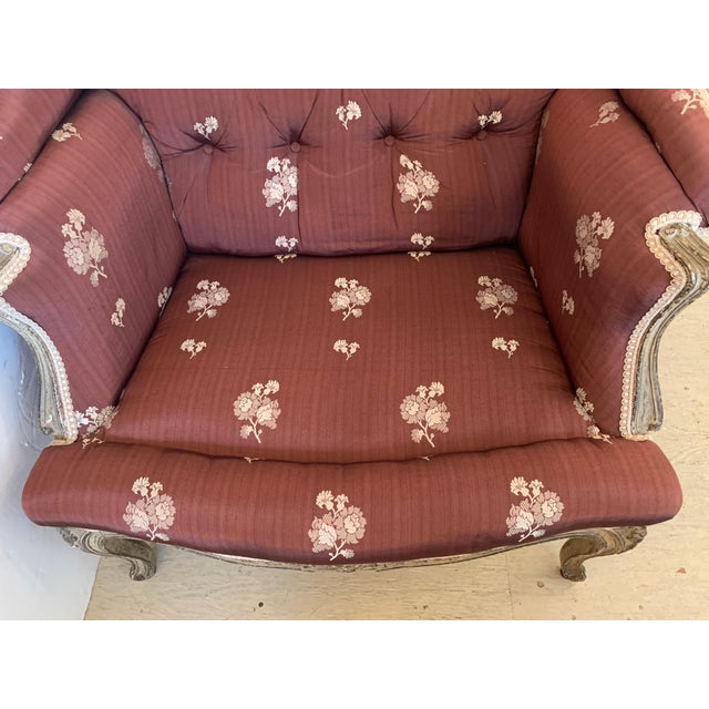 Gold Gorgeous French Louis XV Club Chair Dressed Up in Rose Tarlow Fabric For Sale - Image 8 of 11