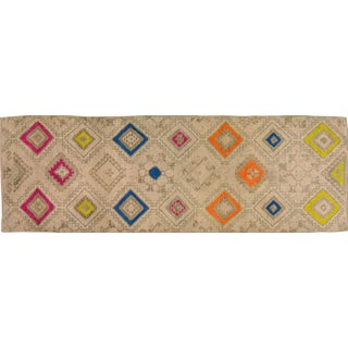 1950s Contemporary Tan Patterned Wool Rug, 3'4''x10'